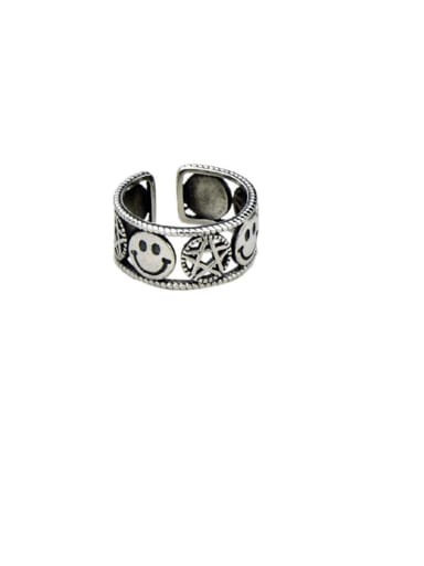 A section (jz121) Vintage Sterling Silver With Platinum Plated Simplistic Star Smiley Free Size Rings