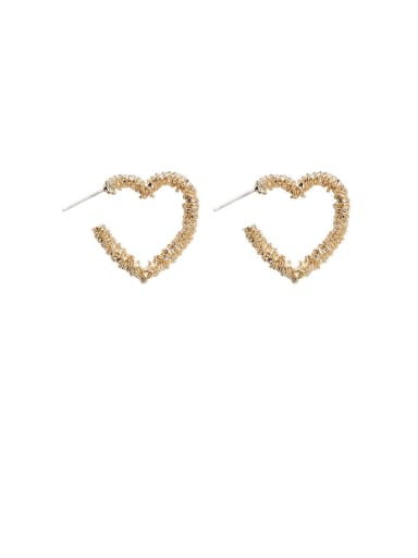 Alloy With Gold Plated Simplistic Hollow Heart Stud Earrings