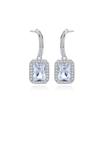 Copper With Platinum Plated Fashion Square Drop Earrings