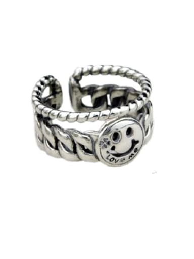 B(jz122) Vintage Sterling Silver With Platinum Plated Simplistic Star Smiley Free Size Rings