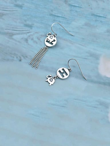 Vintage Sterling Silver With Antique Silver Plated Fashion Alphabet Elephant  Hook Earrings