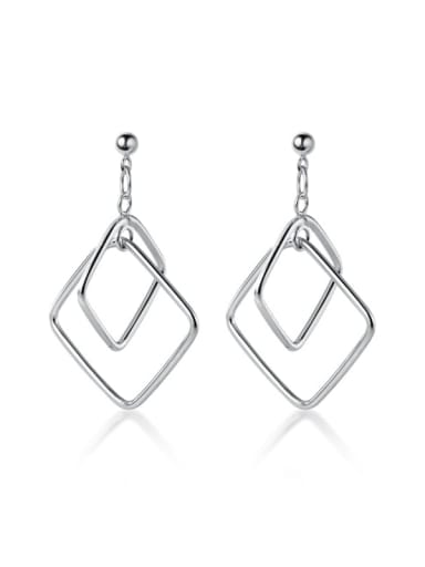 925 Sterling Silver With Platinum Plated Simplistic Hollow Geometric Drop Earrings