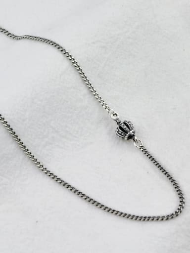Vintage Sterling Silver With Antique Silver Plated Vintage Crown Chain Necklaces