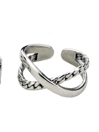 Jz115 (3.4g) Vintage Sterling Silver With Antique Silver Plated  Retro irregular Free Size Rings