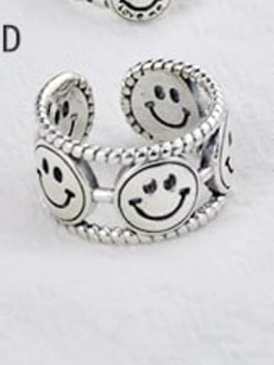 D(JZ083) Vintage Sterling Silver With Antique Silver Plated Fashion Smiley Free Size Rings