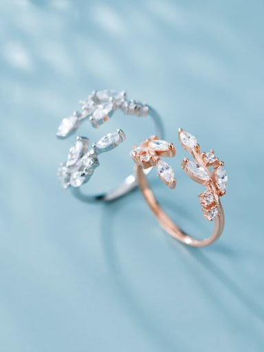 925 Sterling Silver With Rose Gold Plated Fashion Irregular Free Size Rings