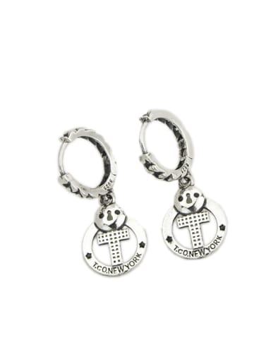 Vintage Sterling Silver With  Simplistic  Hollow Cross Clip On Earrings