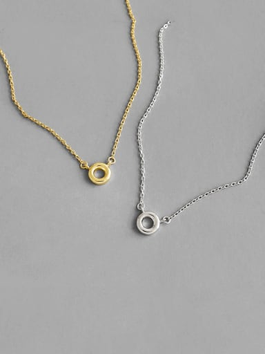 925 Sterling Silver With Gold Plated Simplistic Hollow  Round Necklaces