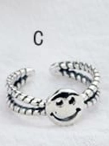 C (JZ089) Vintage Sterling Silver With Antique Silver Plated Fashion Smiley Free Size Rings