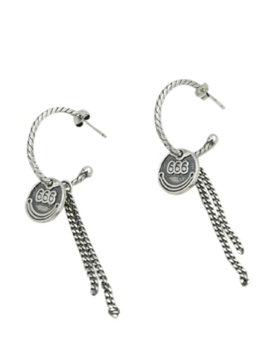 Vintage Sterling Silver With Antique Silver Plated Fashion Round Tassel  Earrings
