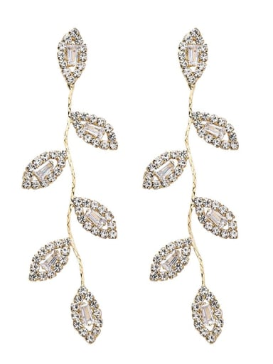 Alloy With Gold Plated Luxury Leaf Chandelier Earrings