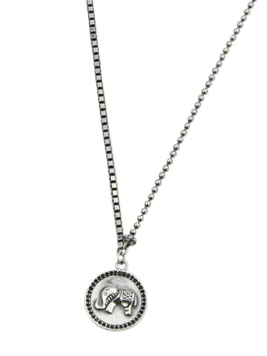 Vintage Sterling Silver With  Fashion Round Card Elephant  Pendant  Necklaces