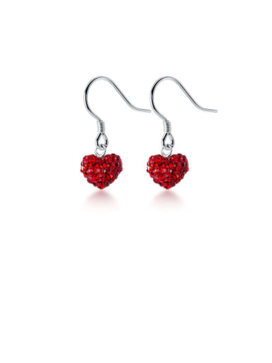 925 Sterling Silver With Platinum Plated Cute Heart Hook Earrings