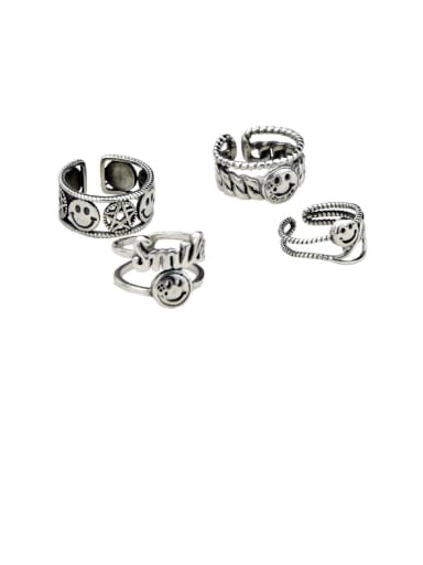Vintage Sterling Silver With Platinum Plated Simplistic Star Smiley Free Size Rings