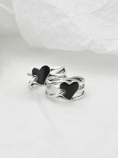 Vintage Sterling Silver With Platinum Plated Fashion Heart Free Size Rings