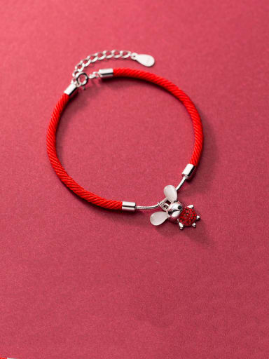 925 Sterling Silver With Gold Plated Cute Mouse Red rope Bracelets