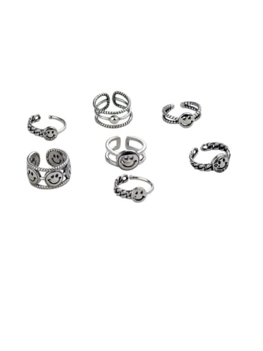 Vintage Sterling Silver With Antique Silver Plated Fashion Smiley Free Size Rings
