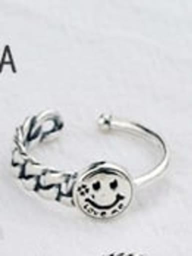 A (JZ090) Vintage Sterling Silver With Antique Silver Plated Fashion Smiley Free Size Rings