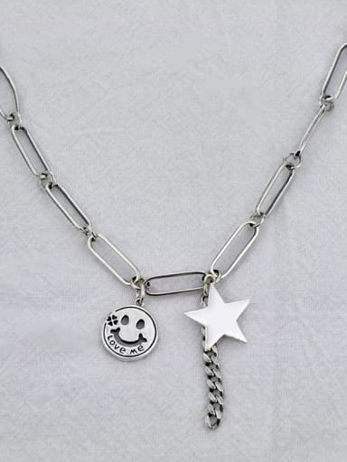 Vintage Sterling Silver With Antique Silver Plated Fashion Smiley stars Necklaces