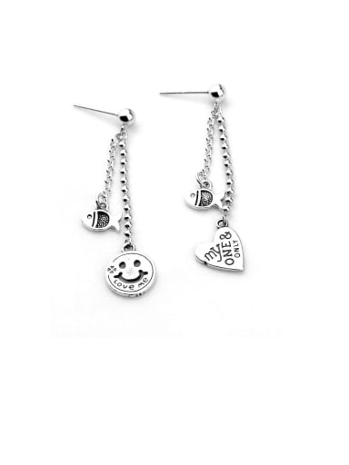 925 Sterling Silver With Simple Smiley Lettering Love Fish Asymmetric Earrings