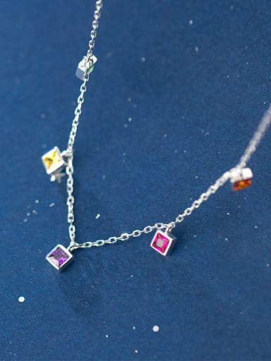 925 Sterling Silver With Platinum Plated Fashion Square Pendant Necklaces
