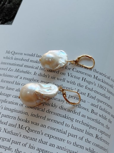 925 Sterling Silver With Gold Plated Simplistic Irregular Drop Earrings