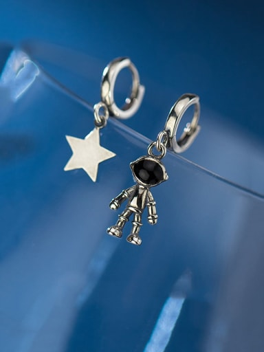 925 Sterling Silver With Antique Silver Plated Vintage Asymmetric  Star Clip On Earrings