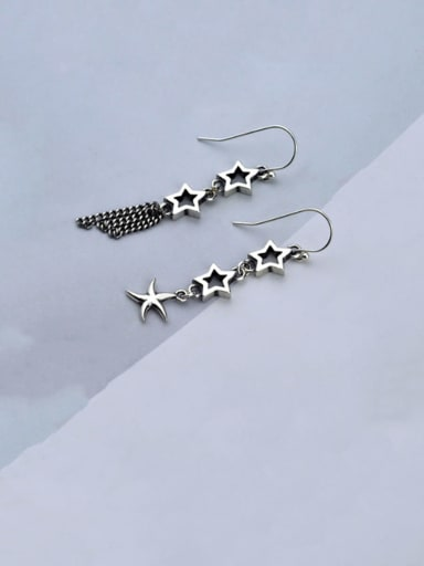 Vintage Sterling Silver With  Fashion Hollow Five-pointed Star Tassel  Drop Earrings