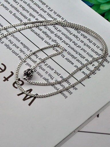 (50cm) bright silver Vintage Sterling Silver With Antique Silver Plated Vintage Crown Chain Necklaces