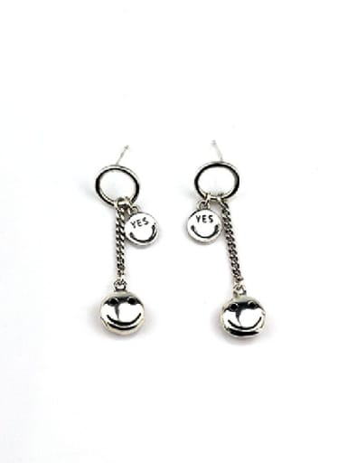 Vintage Sterling Silver With Platinum Plated  Simple round smiley Drop Earrings