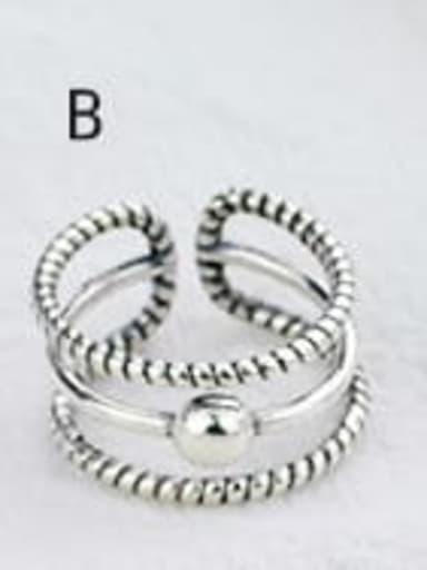 B(JZ088) Vintage Sterling Silver With Antique Silver Plated Fashion Smiley Free Size Rings