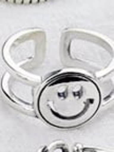 E (JZ087) Vintage Sterling Silver With Antique Silver Plated Fashion Smiley Free Size Rings