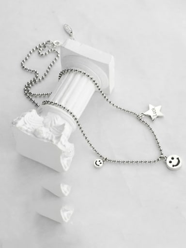 Vintage Sterling Silver With  Fashion Smiley Beads  Chain Necklaces