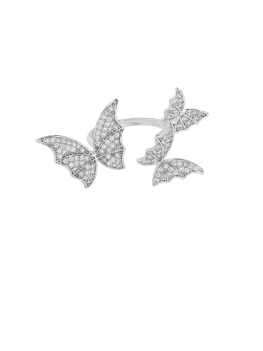 Alloy With Platinum Plated Fashion Butterfly Band Rings