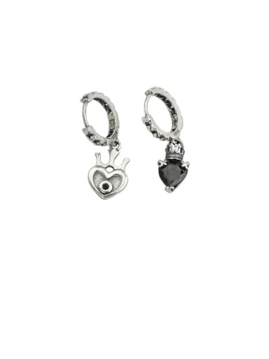 Vintage Sterling Silver With Antique Silver Plated Simplistic Heart Clip On Earrings