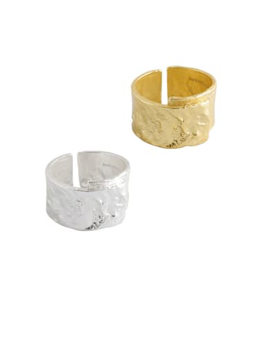 925 Sterling Silver With Gold Plated Fashion Smooth  Geometric Free Size  Rings