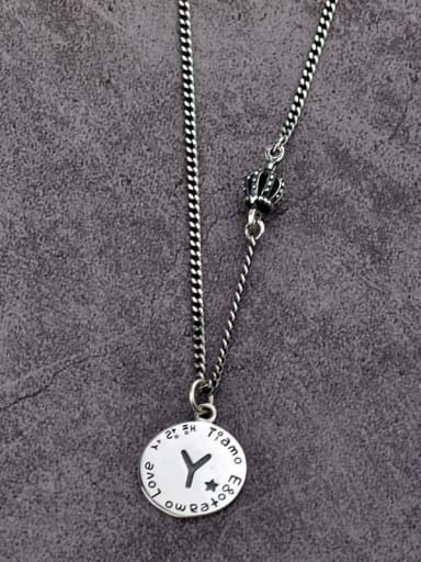 Vintage Sterling Silver With Antique Silver Plated Simplistic Round Simple Old Letters  Necklaces