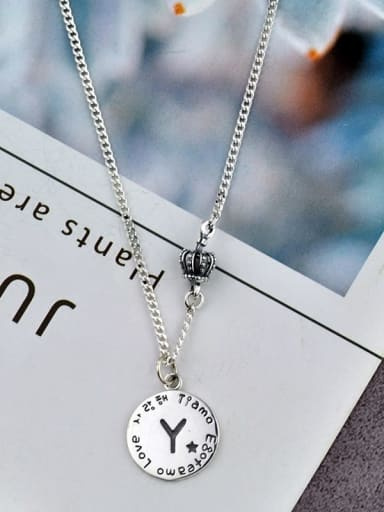 What Letter Do You Need? Please Contact Vintage Sterling Silver With Antique Silver Plated Simplistic Round Simple Old Letters  Necklaces