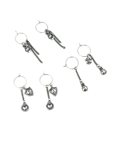 925 Sterling Silver With Platinum Plated Fashion Geometric Drop Earrings