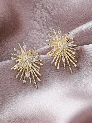 Alloy With Gold Plated Trendy Flower Stud Earrings