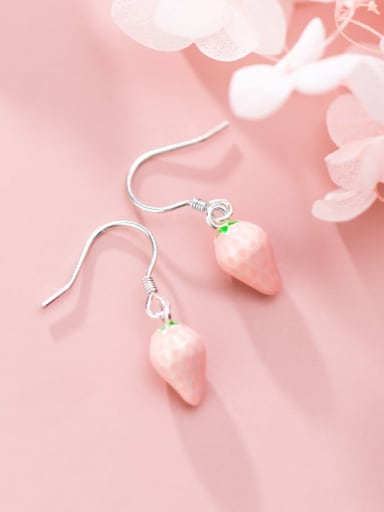 925 Sterling Silver With Platinum Plated Cute Strawberry  Hook Earrings