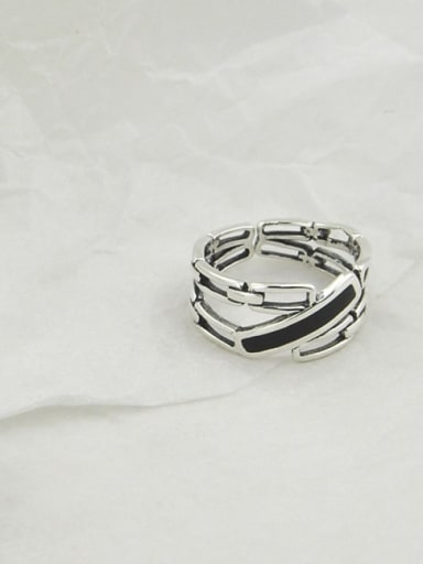 Vintage Sterling Silver With Platinum Plated Simplistic Irregular Free Size Rings