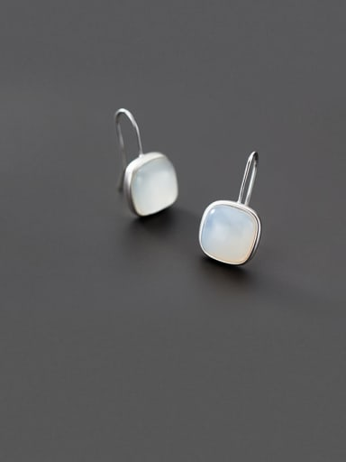 925 Sterling Silver With Platinum Plated Simplistic Square Hook Earrings
