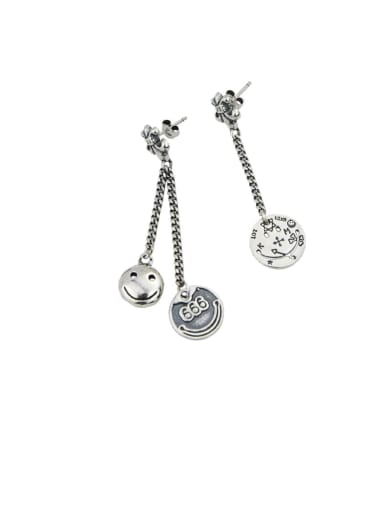 Vintage Sterling Silver With Antique Silver Plated Trendy Round  Smiley Drop Earrings