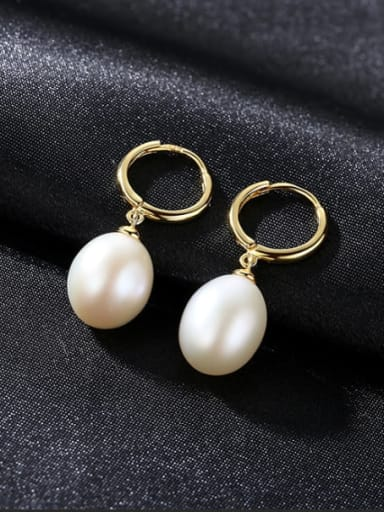 925 Sterling Silver With  Freshwater Pearl Oval Clip On Earrings