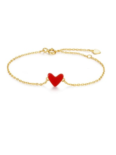 925 Sterling Silver With Gold Plated Classic Heart Bracelets