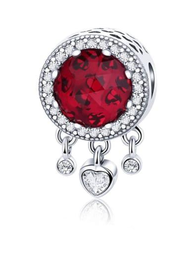 Red 925 silver cute heart charm