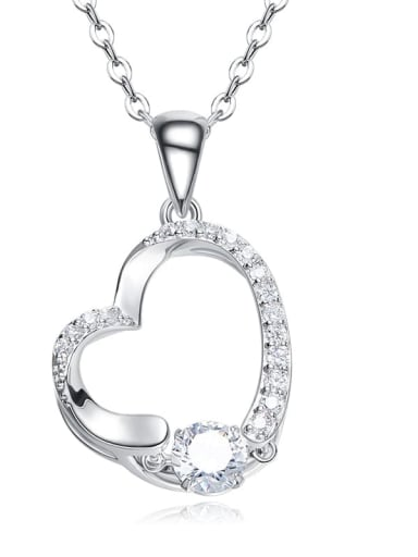 925 Sterling Silver With Platinum Plated Delicate Heart Dancing stone Necklaces