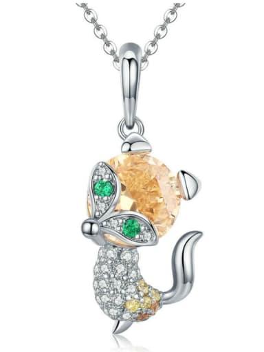 Pendant Chain 925 silver cute little fox charm