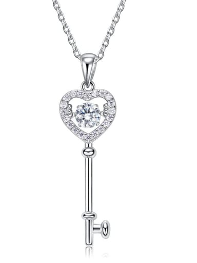 925 Sterling Silver With Platinum Plated Class key Dancing Cubic Zirconia Necklaces